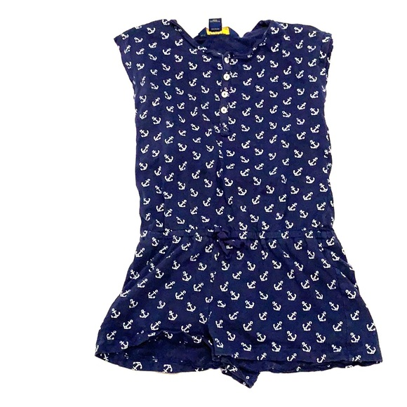ROMPER POLO RALPH LAUREN Girls Navy White Anchor Romper One-Piece NAUTICAL